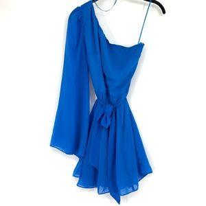 Ark & Co One Shoulder Cocktail Dress Blue Chiffon